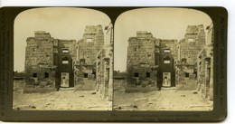 Egypte Thebes Medinet Habou Temple De Ramses Ancienne Photo Stereo 1900 - Stereoscopic