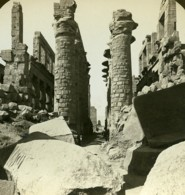 Egypte Karnak Temple De Amon Grande Salle Hypostyle Ancienne Photo Stereo White 1900 - Stereoscopic