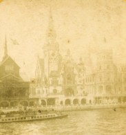 France Paris Exposition Universelle Pavillon Allemand Ancienne Photo Stereo 1889 - Stereoscopic