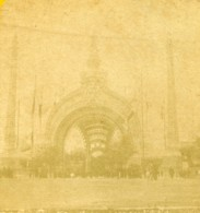 France Paris Exposition Universelle Porte Monumentale Ancienne Photo Stereo 1889 - Stereoscopic
