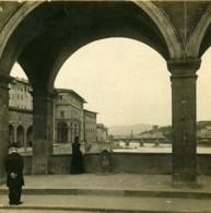 Italie Florence Vue Du Ponte Vecchio Anciene Stereo Photo SIP 1900 - Stereoscopic