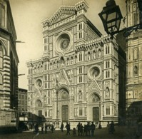 Italie Florence Cathedrale Facade Anciene Stereo Photo SIP 1900 - Stereoscopic