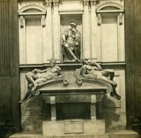 Italie Florence Tombeau De Laurent De Medicis Michel-Ange Anciene Stereo Photo SIP 1900 - Stereoscopic