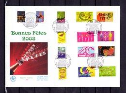 """Sous La Faciale """" 2008 : BONNES FETES / ADHESIFS """" Sur Enveloppe 1er Jour Grand Format N° YT 4308 à 4321. Parf état FDC - France"""