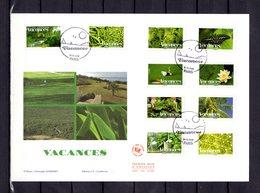 """"""" 2008 : BONNES VACANCES / ADHESIFS """" Sur Enveloppe 1er Jour Grand Format N° YT 4186 à 4195. Parfait état FDC - France"""