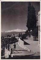 TAORMINA. L'ETNA 3274m. FOTO LICARI. CIRCULEE 1956 A BUENOS AIRES PAR AVION-BLEUP - Messina