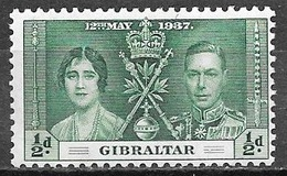 1937 1/2p Coronation, Mint Light Hinged - Gibraltar