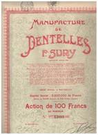 Ancienne Action - Manufacture De Dentelles Fernand Sury - Titre De 1927 - N° 34947 - Industrie