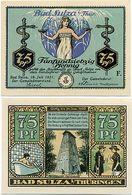 Bad Sulza, 1 Schein Notgeld 1921, Äskulapstab, Schlange. Sanitas, 75 Pfennig - Lokale Ausgaben