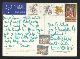 Australia Air Mail Postal Used Picture Postcard With Stamps Flowers Flower Fish Animal - Postal Stationery