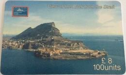 Gibraltar - GIB-C-18, Bird Eye S/S West View Of The Rock, 100U, 5000ex, 2000. Used - Gibraltar