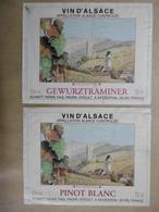 "Etiquettes De Vin ALSACE ""GEWURZTRAMINER"" Et ""PINOT BLANC"" Katzenthal 68 HAUT-RHIN En LOT - Gewurztraminer"