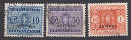 ERITREA (colonia Italiana) - 1934 - Tre Valori Segnatasse Usati: Unificato 27, 32 E 34. - Eritrea