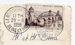1956--cachet Rond LA BOISSIERE  ECOLE -Seine Et Oise (78) Sur Tp Le Tout Sur Cpsm CHANDELLES-28-Moulin - Marcophilie (Lettres)
