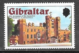 1978 25th Anniversary Of Coronation, 9p, Mint Never Hinged - Gibraltar