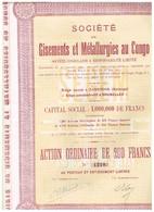 Ancienne Action - Société De Gisements Et Métallurgies Au Congo - Titre De 1923 - - Afrique