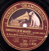78 Trs - 30 Cm - état TB - CONCERTO EN RE MAJEUR  FLUTE  Marcel MOYSE Soliste Des Concerts Du Conservatoire - 78 T - Disques Pour Gramophone