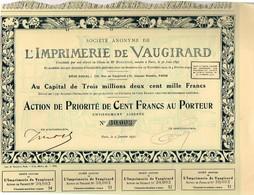 Ancienne Action - Société Anonyme De L'imprimerie De Vaugirard - Titre De 1931 - Industrie