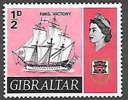 1967 1/2p HMS Victory Ship, Mint Light Hinged - Gibraltar