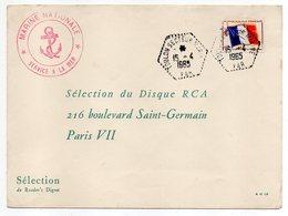 Poste Navale-1965-Lettre De TOULON SECTEUR MARINE-83  Pour PARIS 7°- Timbre F.M-cachet Hexagonal + Service à La Mer - Marcophilie (Lettres)