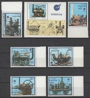 Laos 1988 Mi 1091-1096 + Block 123(1097) International Stamp Exhibition ESSEN '88: Old Locomotives / Alte Lokomotiven - Voitures