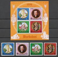 Barbados 1975 Mi# 389-92+ Bl.6** ANGLICAN DIOCESE IN BARBADOS, 150th ANNIV. - Barbades (1966-...)