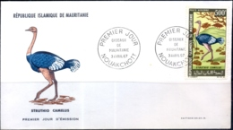 FLIGHTLESS BIRDS- OSTRICHES- MAURITANNIA- FDC-1967-FC-78 - Autruches