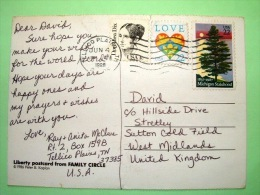 """USA 1988 Postcard """"Statue Of Liberty"""" To England - Michigan Pine Tree - Love Heart - Dorothea Dix - Lettres & Documents"""