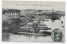 (RECTO / VERSO) CHERBOURG EN 1911 - N° 99 Bis - ARSENAL MARITIME MILITAIRE - STATION DES SOUS-MARINS - CPA VOYAGEE - 50 - Sous-marins