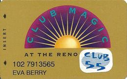 Reno Hilton Casino - Reno NV - 9th Issue Slot Card With Cpi 2006354 & Club 55 Sticker - Casino Cards