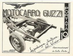 PUBBLICITA'  MOTOCARRO GUZZI GOMME PIRELLI  1939  RITAGLIATA DA GIORNALE - Pubblicitari
