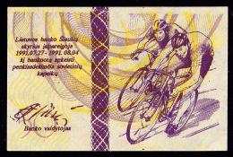 LITHUANIA OLYMPIC REGIONAL BANKNOTE CYCLISTS 1991 50 CENTAURU 1991 Pick NL AUnc - Lituanie