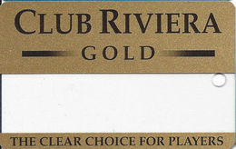 Riviera Casino - Las Vegas NV - BLANK Clear Slot Card - Black Reverse - Casino Cards