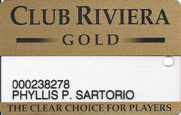 Riviera Casino - Las Vegas NV - Clear Slot Card - Black Reverse - Casino Cards