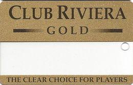Riviera Casino - Las Vegas NV - BLANK Clear Slot Card - Gold Reverse - Casino Cards