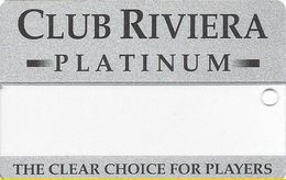 Riviera Casino - Las Vegas NV - BLANK Clear Slot Card - Silver Reverse - Casino Cards