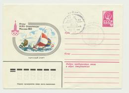 45-627 Russia USSR Estonia Postal Stationery Cover 1979 Moscow Olympics Tallinn Regatta - 1970-79