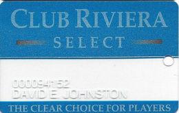 Riviera Casino - Las Vegas NV - Clear Slot Card - Blue Reverse - Casino Cards