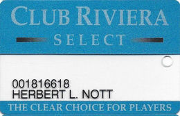 Riviera Casino - Las Vegas NV - Clear Slot Card With 1-800-634-3420 Phone# - Casino Cards