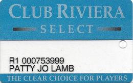 Riviera Casino - Las Vegas NV - Clear Slot Card With 1-800-637-5687 Phone# & Dark Grey Reverse - Cartes De Casino