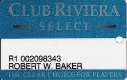 Riviera Casino - Las Vegas NV - Clear Slot Card With 1-800-637-5687 Phone# & Black Reverse - Casino Cards