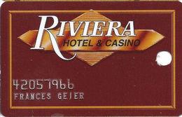 Riviera Casino - Las Vegas NV - 1st Issue Slot Card - Data Card On Reverse Over Mag Stripe - Cartes De Casino