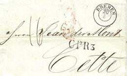 """1847- Lettre De BREMEN ( Allemagne)  Pour Cette + CP R3 -au Dos, Cad Bleu """" ROUTE DE MOULINS - Postmark Collection (Covers)"""