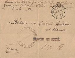 GUERRE 14-18 - ARMEE D'ORIENT - POSTA MILITARE *17A* - 108e REGIMENT D'ARTILLERIE LOURDE - 8e GROUPE - BASE FRANCAISE - - Marcofilia (sobres)