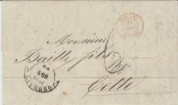 1857- Lettre De LIVORNO  Pour Cette ( France ) Taxe 6d Entrée Rouge TOSCANE / ANTIBES - Toscane