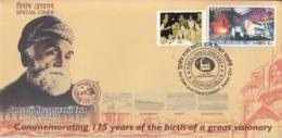 India 2014  Zorastrians  Jamsetji Nusserwanji Tata  Founder Tata Steel Ltd. Label Special Cover  #15676  D  Inde Indien - India