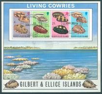 GILBERT ELLICE -  USED OBLIT. - 1976 - LIVING COWRIES SHELLS - Yv BLOC 2 -  Lot 18280 - Îles Gilbert Et Ellice (...-1979)