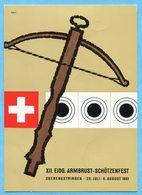 Ballonkarte 1961-24 Gestempelt Neuwilen - Anlässlich Des XII. Eidg. Armbrustschützenfestes Oberengstringen - Premiers Vols