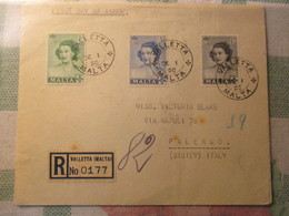 Busta Viaggiata 1° Giorno Emissione / Malta 1950 - Malta