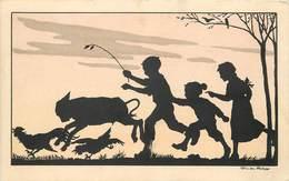 SILHOUETTE - Ombre Chinoise,enfants Et Animaux,carte Illustrée Par Félicien Philippe. - Silhouettes